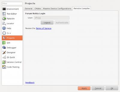 Screenshot of Qt Creator options
